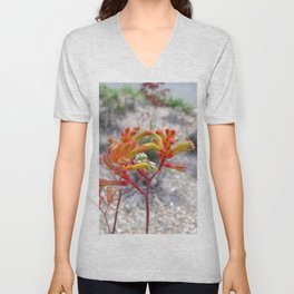 Orange Kangaroo Paw Flowers Unisex V-Neck