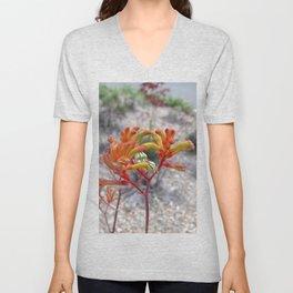 Orange Kangaroo Paw Flowers Unisex V-Neck