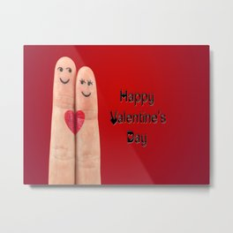 Happy Valentines Fingers Metal Print