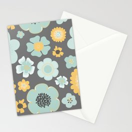 Modern Pretty Floral in Aqua and Gold No. 3 Stationery Cards