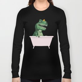 Playful T-Rex in Bathtub in Green Long Sleeve T-shirt