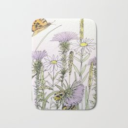 Bees Butterfly Thistle Watercolor Illustration Nature Art Bath Mat