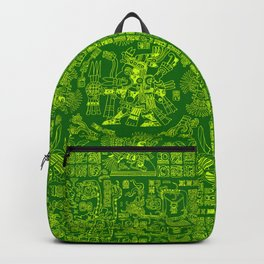 Mayan Spring GREEN / Ancient Mayan hieroglyphics mandala pattern Backpack