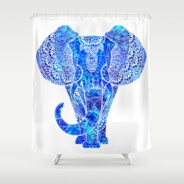 Teal Blue Elephant Shower Curtain