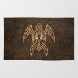 Intricate Vintage and Cracked Sea Turtle Rug