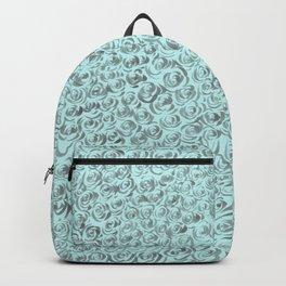 Aqua and Gray Rose Flurry Backpack