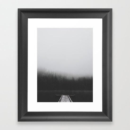 Snow Covered Dock Framed Art Print