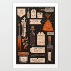 Spooky Halloween Odds and Ends Art Print