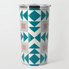 Abstract Contemporary Geometric Pink and Green Retro Pattern 04 Travel Mug
