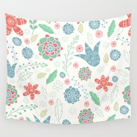floral pattern Wall Tapestries featuring Floral pattern by Julia Badeeva