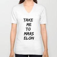 mars V-neck T-shirts featuring Mars by ClicheZero