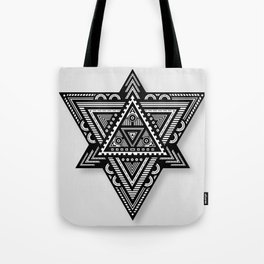 Geometric Triangle Pattern (Grey) Tote Bag