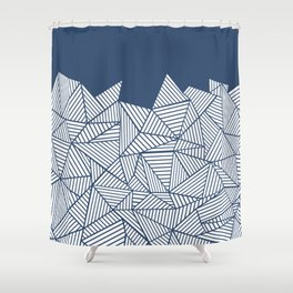 Abstract Mountain Navy Shower Curtain
