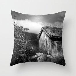 Old Mountain Cabin - Black & White Throw Pillow