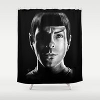 spock Shower Curtains featuring Spock by Sarah Riebe
