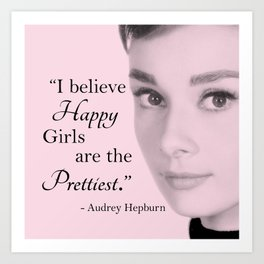 Happy Girls - Pink - With Audrey Art Print
