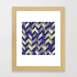 Blue Purple Yellow and Green Chevron Pattern Framed Art Print