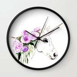 Unicorn with purple flowers Wall Clock