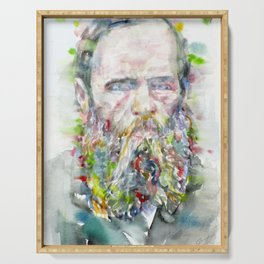 FYODOR DOSTOYEVSKY - watercolor portrait Serving Tray