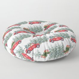 Corgis in car in winter forest Floor Pillow