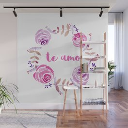 Te Amo - Pink Watercolor Floral Wreath 'I love you' in Spanish Wall Mural