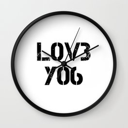 Love you typography white pattern Wall Clock