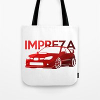 subaru Tote Bags featuring Subaru Impreza 2006 - classic red - by Vehicle