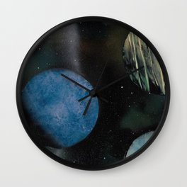 Loads of Planets - Spacescape - Spray Paint Art Wall Clock