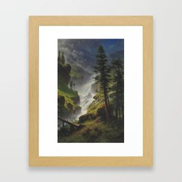 ALBERT BIERSTADT · landscape Rocky Mountain Waterfall (1898) Framed Art Print