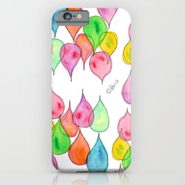Tears Watercolor Painting colorful rain drops pattern iPhone Case
