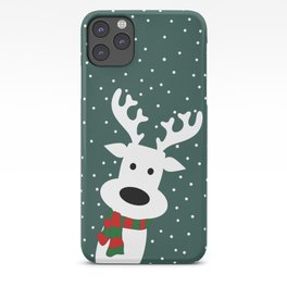 Reindeer in a snowy day (green) iPhone Case