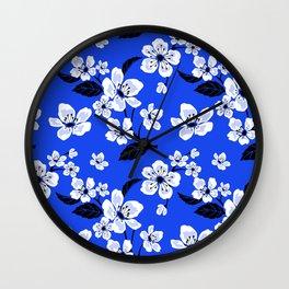 Blue Sakura Cherry Tree Flower Blooms - Aloha Hawaiian Floral Pattern Wall Clock