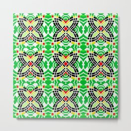 Retro Green Tile Butterfly Vintage Geometric Print Metal Print