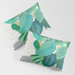 Jungle house plant in a pot collection of leaves Pillow Sham