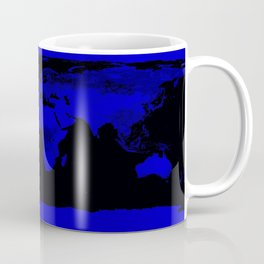 worlD Map Blue & Black Coffee Mug