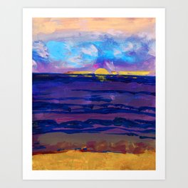 Large golden sunset, ocean, beach abstract Art Print