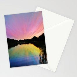 Pastel Rainbow Sunset Lake Stationery Cards