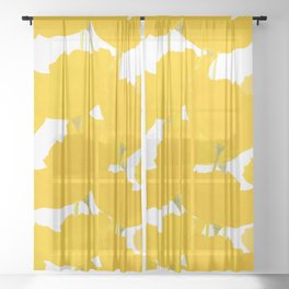 Yellow Mellow Poppies On A White Background #decor #society6 #buyart Sheer Curtain