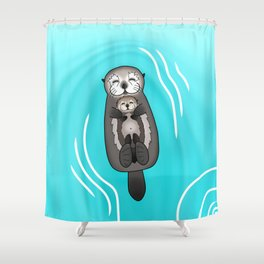 Mother and Pup Sea Otters - Mom Holding Baby Otter Shower Curtain