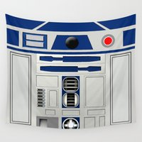 r2d2 Wall Tapestries featuring R2D2 Robot by Andrian Kembara