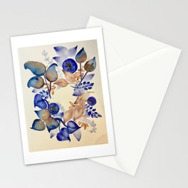 Blueberry Gold Leaf Wreath Stationery Cards