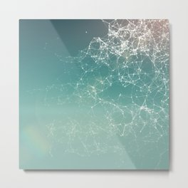 Fresh summer abstract background. Connecting dots, lens flare Metal Print