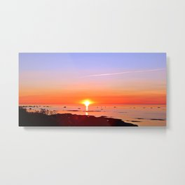 Kayak Silhouette at Sunset Metal Print