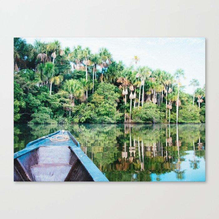 A Boat in the Amazon Rainforest Fine Art Print Canvas Print
