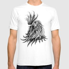 Ornately Decorated Rooster LARGE White Mens Fitted Tee