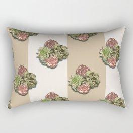 When Floral Meets Succulent (Beige & Cream) Rectangular Pillow