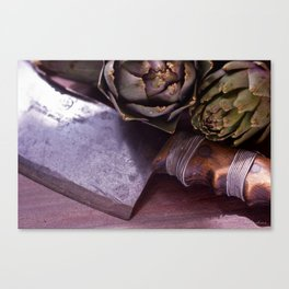 Vintage photograph of butchers knife and artichoke still life Canvas Print