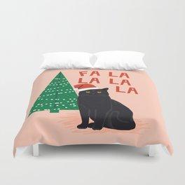 Black Cat cute fa la la christmas xmas tree holiday funny cat art cat lady gift unique pet gifts Duvet Cover