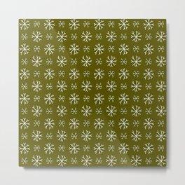 snowflake 18 For Christmas Green Metal Print