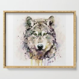 Wolf Head Watercolor Portrait Serving Tray